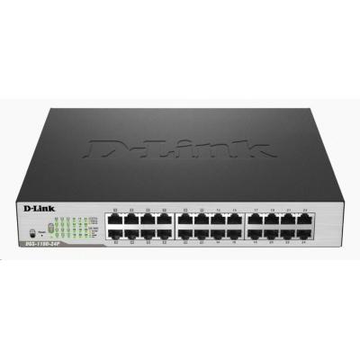 D-Link DGS-1100-24P 24-Port PoE Gigabit Smart Switch, 12x PoE, PoE budget 100W