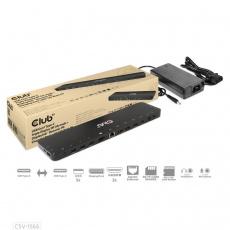 Club3D Dokovací stanice USB-C, Triple Display DP Alt mode Displaylink Dynamic PD Charging Dock with 120 Watt PS
