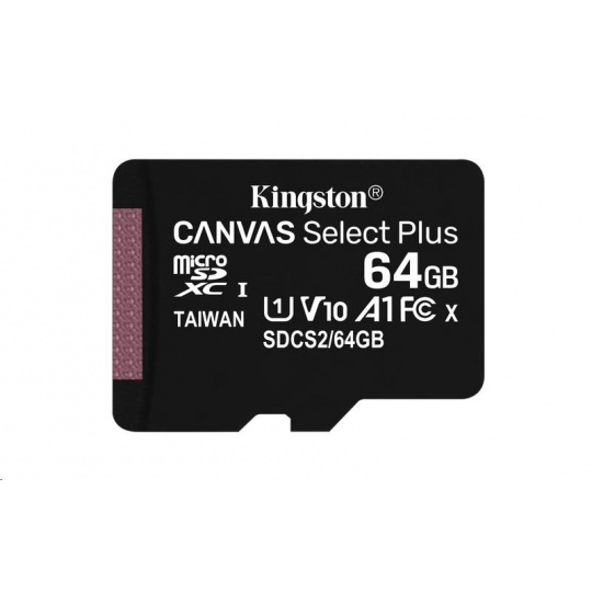 Kingston 64GB micSDXC Canvas Select Plus 100R A1 C10 - 1 ks