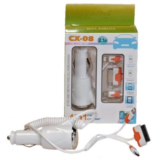 Viking nabíječka do auta CX-08, 3v1, micro USB, Lightning, Apple 30-PIN, 2,1 A, 12-24 V