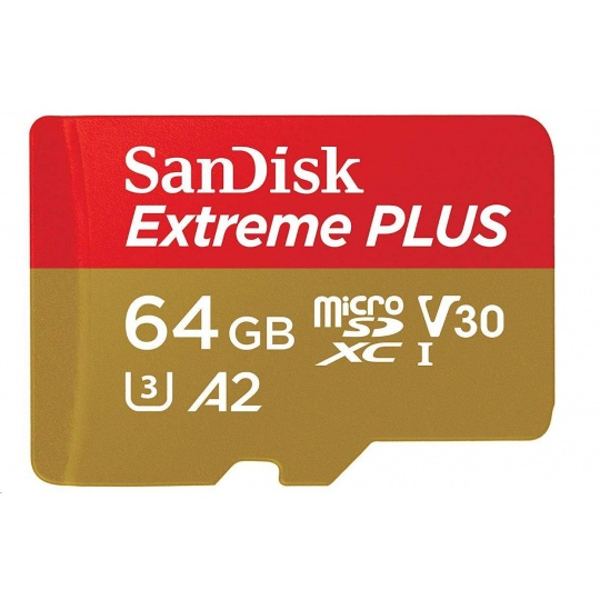 SanDisk MicroSDXC karta 64GB Extreme PLUS (R:170/W:90 MB/s, A2 C10 V30 UHS-I) + adaptér