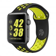 eses Silikonový řemínek 42mm/44mm S/M/L černý/žlutý pro Apple Watch