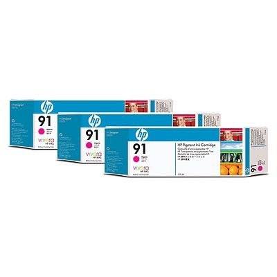 HP 91 Magenta DJ Ink Cart, 775 ml, 3-pack, C9484A