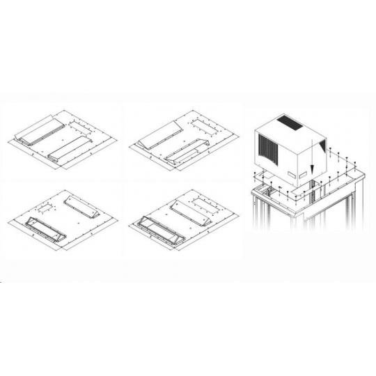 TRITON montážní redukce ke klimatizaci X1 a X2 do hloubky rozvaděče 600 x 1000 mm, černá