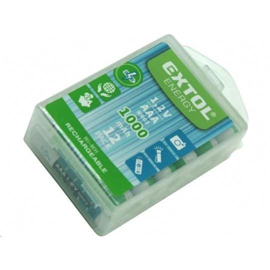 Extol Energy (42062) baterie nabíjecí, 12ks, AAA (HR03), 1,2V, 1000mAh, NiMh