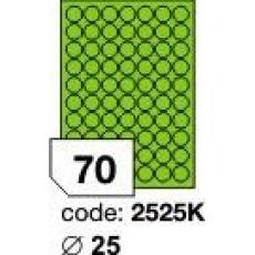 RAYFILM Štítky 25mm kruh univerzálne zelené *R01202525KA, 1000 listů