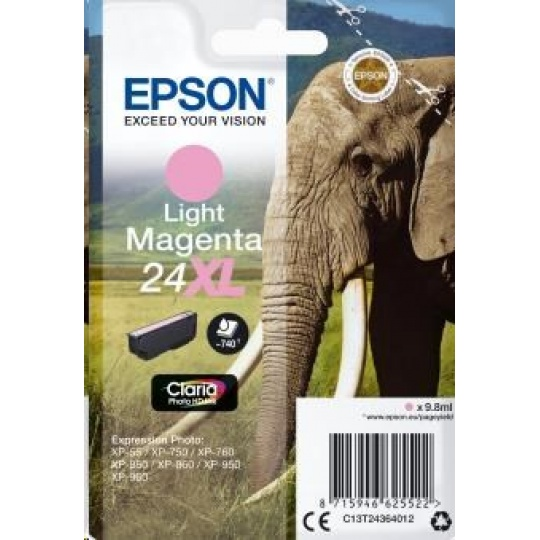 "EPSON ink bar Singlepack ""Slon"" Light Magenta 24XL Claria Photo HD Ink"