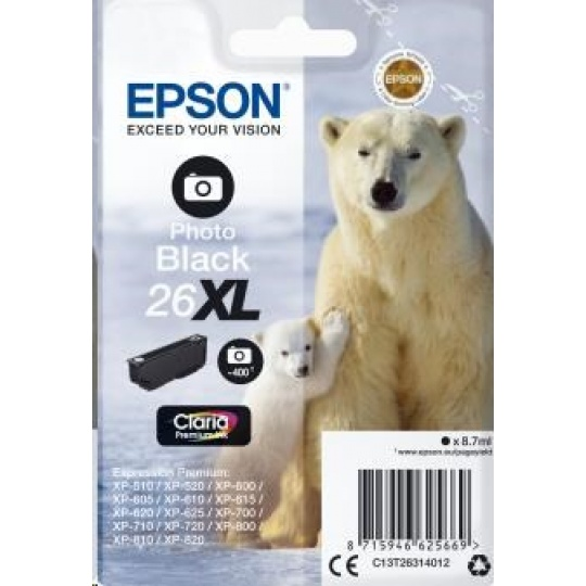 "EPSON ink čer Singlepack ""Lední medvěd"" Photo Black 26XL Claria Premium Ink"