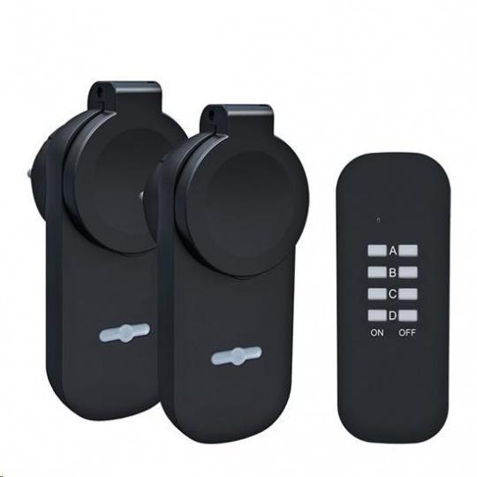 Solight DY12 dálkově ovládané venkovní zásuvky set 2 + 1, 2 zásuvky, 1 ovladač