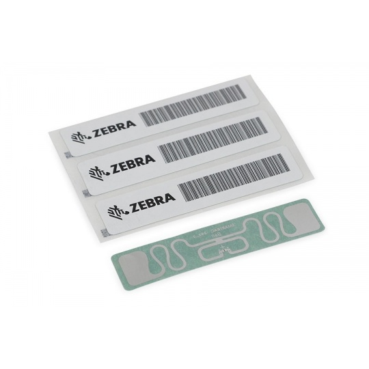 "Zebra RFID Label, 45x13mm, Printable White PET, 3"" core, 800/roll,"