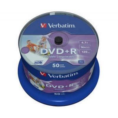 VERBATIM DVD+R(50-Pack)Spindle/Printable/16x/4.7GB/DLP