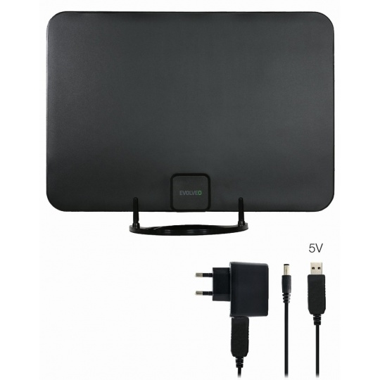 EVOLVEO Xany 2A LTE 230/5V, 45dBi aktivní pokojová anténa DVB-T/T2, LTE filtr