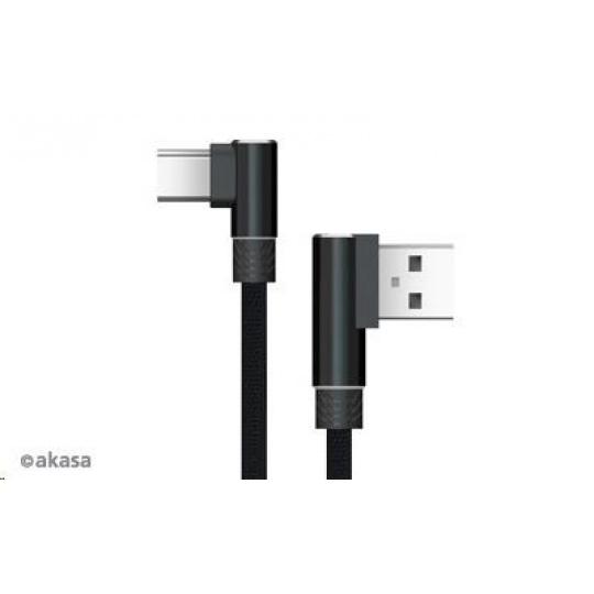 AKASA kabel pravoúhlý, USB Type-A, USB Type-C, napájecí & Sync, 1m,  černý