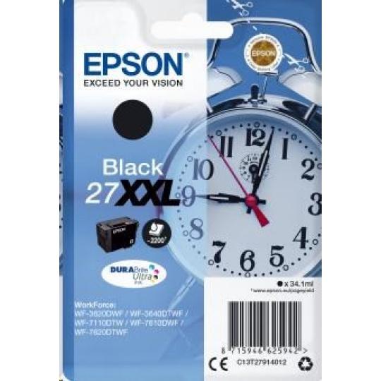 "EPSON ink čer Singlepack ""Budík"" Black 27XXL DURABrite Ultra Ink"