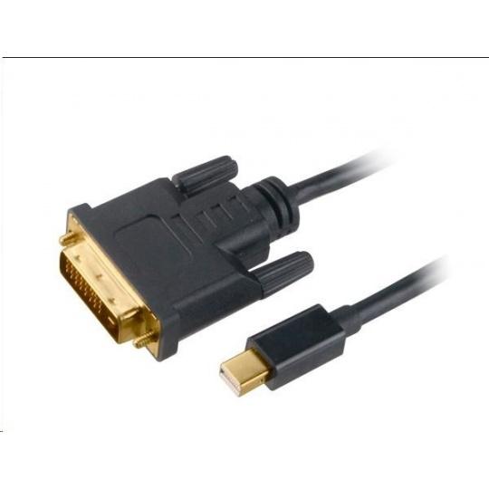 AKASA adaptér Mini DisplayPort na DVI-D,kabel, 1.8m