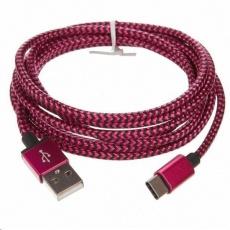 CELLFISH univerzální pletený kabel, USB-C, 2 m, růžová