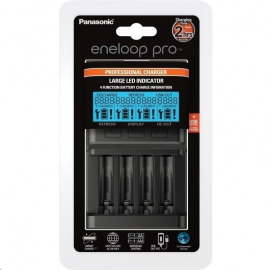 PANASONIC eneloop Vlajková nabíječka s displejem, USB, 4x AA/AAA (bez baterií) doba nabíjení +/- 2-3h BQ-CC65