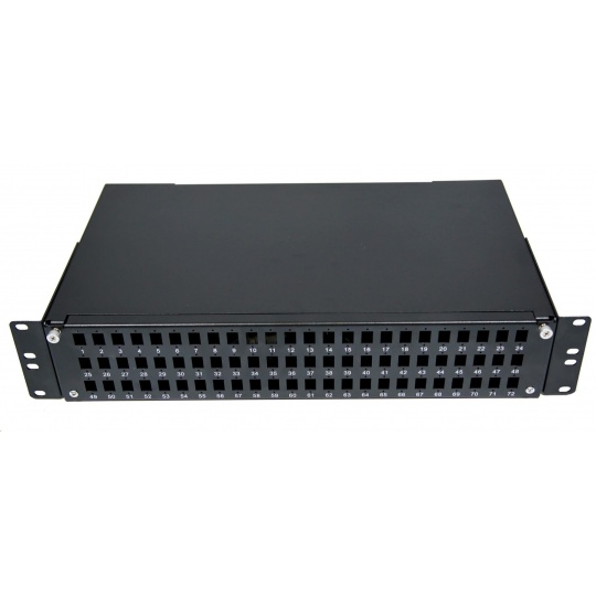 Optická vana výsuvná 2U, 72x SC simplex (72x LC duplex, 72x E2000), kompatibilní s kazety Optronics, černá