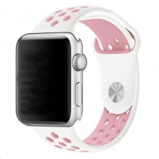 eses Silikonový řemínek 38mm/40mm S/M/L bílý/růžový pro Apple Watch