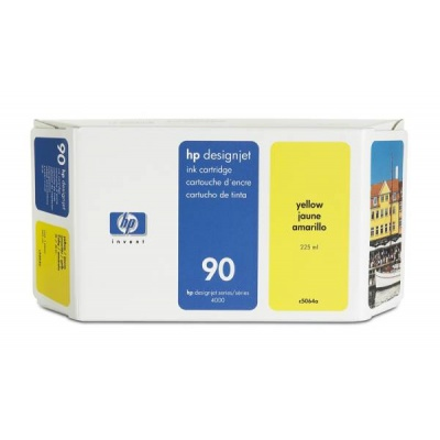 HP 90 Yellow DJ Ink Cart, 225 ml, C5064A