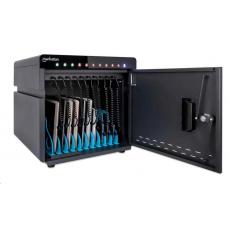 MANHATTAN stolní nabíjecí skříň - 10 portů, 180 W, přepěťová ochrana, tichá ventilace, kovové pouzdro, ROZBALENO
