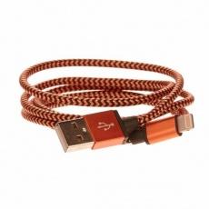 CELLFISH pletený datový kabel z nylonového vlákna, Lightning, 1 m, oranžová