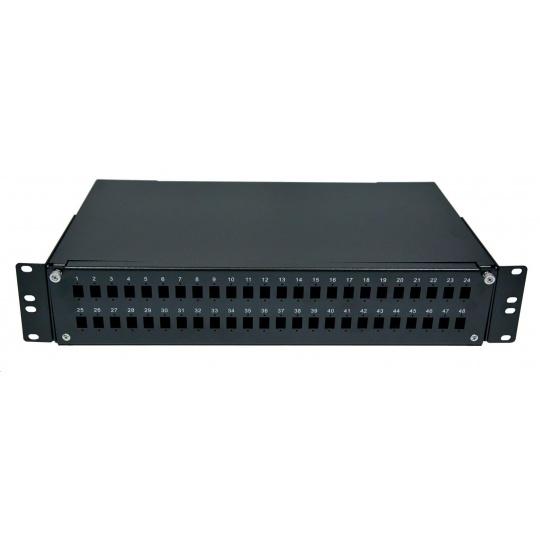 Optická vana výsuvná 2U, 48x SC simplex (48x LC duplex, 48x E2000), kompatibilní s kazety Optronics, černá