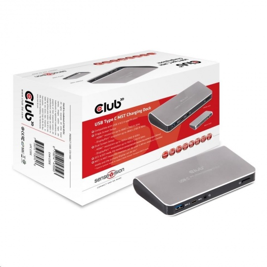 Club3D Dokovací stanice USB Type C (MST) (3x USB 3.0/USB-C/HDMI/DP/Ethernet/Audio) s napájecím adaptérem