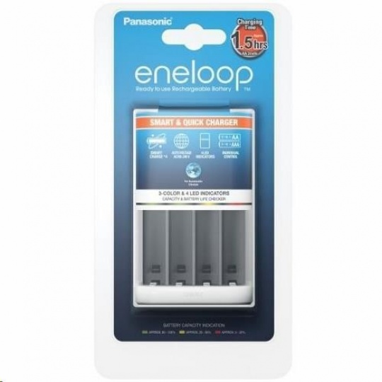 PANASONIC eneloop Nabíječka Smart Quick Charger 4x AA/AAA (bez baterií) doba nabíjení +/- 2-3h BQ-CC55E