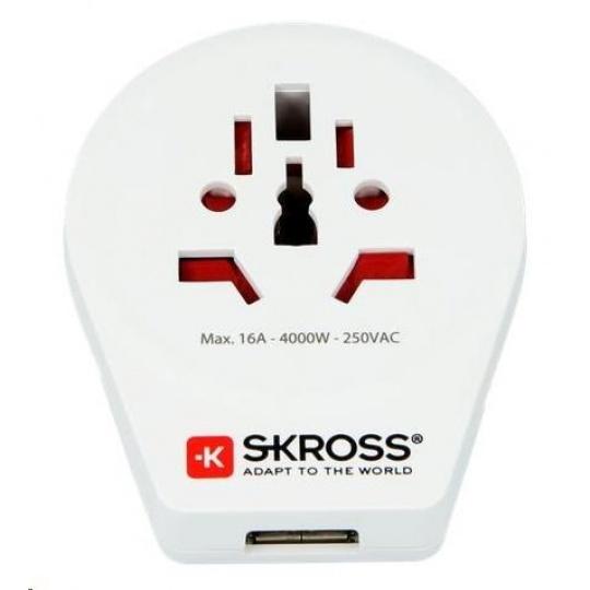 SKROSS cestovní adaptér SKROSS Europe USB pro cizince v ČR, vč. 1x USB 2100mA
