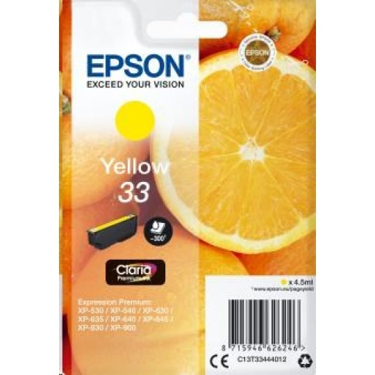 "EPSON ink bar Singlepack ""Pomeranč"" Yellow 33 Claria Premium Ink"