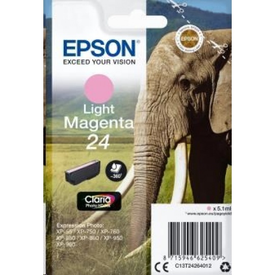 "EPSON ink bar Singlepack ""Slon"" Light Magenta 24 Claria Photo HD Ink"