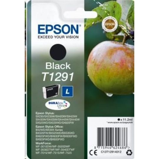 "EPSON ink čer Singlepack ""Jablko"" Black T1291 DURABrite Ultra Ink (11,2 ml)"